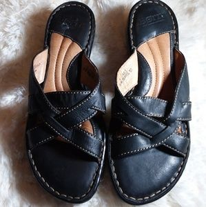 boc black leather sandals